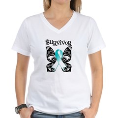 Butterfly Cervical Cancer Women's V-Neck T-Shirt
