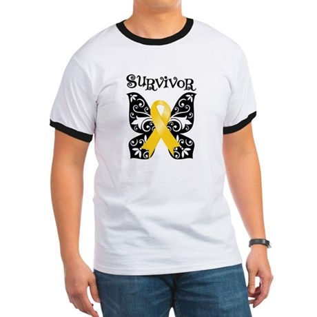 Butterfly Childhood Cancer Ringer T