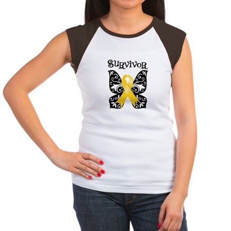 Butterfly Childhood Cancer Women's Cap Sleeve T-Sh