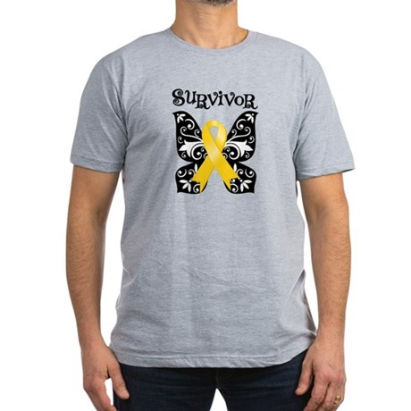 Butterfly Childhood Cancer Men's Fitted T-Shirt (d