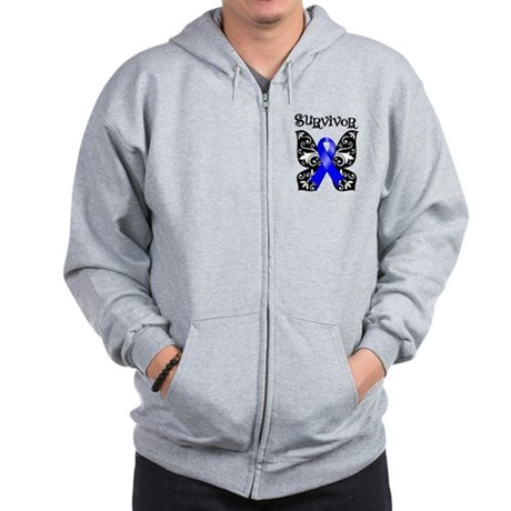 Butterfly Colon Cancer Zip Hoodie