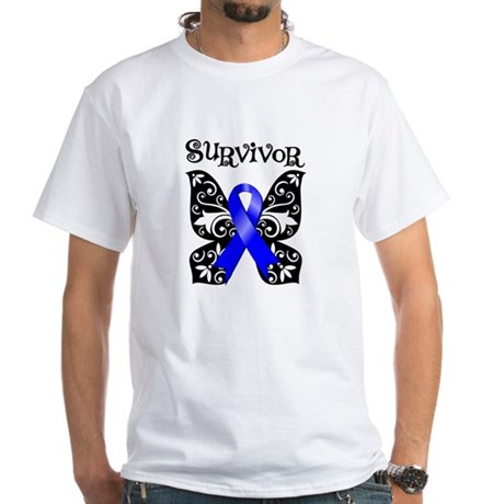 Butterfly Colon Cancer White T-Shirt