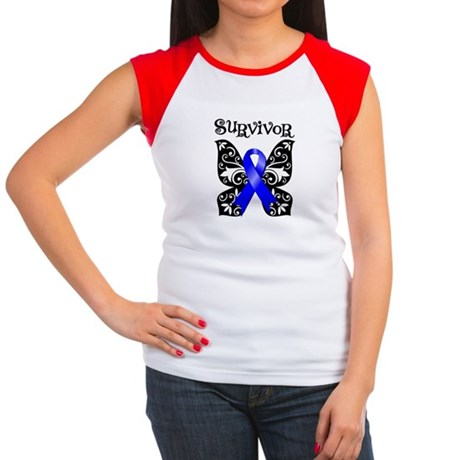 Butterfly Colon Cancer Women's Cap Sleeve T-Shirt