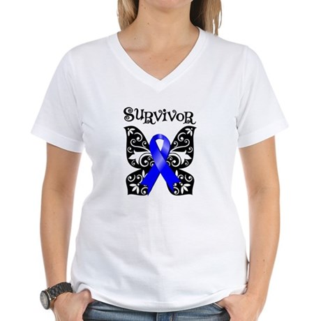 Butterfly Colon Cancer Women's V-Neck T-Shirt