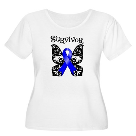 Butterfly Colon Cancer Women's Plus Size Scoop Nec