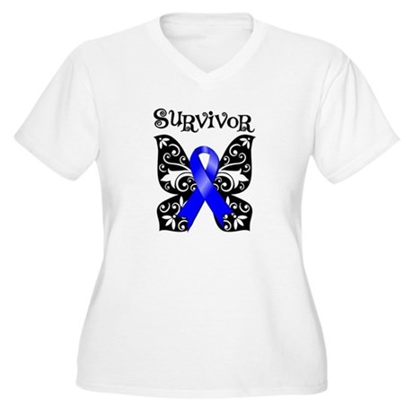 Butterfly Colon Cancer Women's Plus Size V-Neck T-