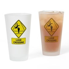 Luge Crossing Sign Pint Glass