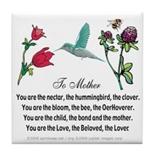 To Mother (Hummingbird) Tile Coaster