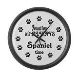 Spaniel Time Paw Numbers Large Wall Clock