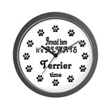 Terrier Time Paw Numbers Wall Clock