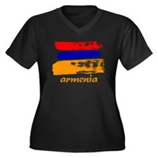 Armenia Women's Plus Size V-Neck Dark T-Shirt