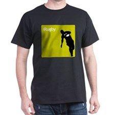 iRugby Green Rugby Player T-shirt Black T-Shirt