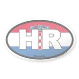Croatia HR Euro Oval Sticker with Flag Background