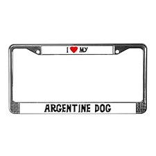 I Love My Argentine Dog License Plate Frame