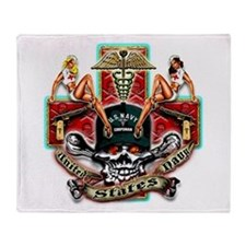 US Navy Corpsman Skull Throw Blanket