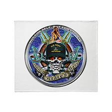USN Navy Veteran Skull Flag Throw Blanket