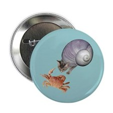 "Shell Cat Crab Blue 2.25"" Button"