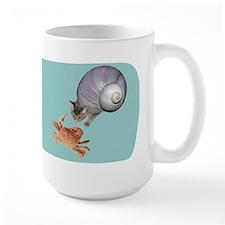 Shell Cat Crab Blue Mug
