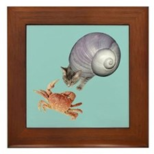 Shell Cat Crab Blue Framed Tile