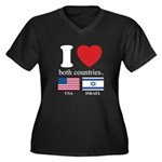 USA-ISRAEL Women's Plus Size V-Neck Dark T-Shirt
