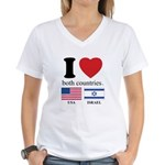 USA-ISRAEL Women's V-Neck T-Shirt