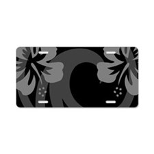 Hibiscus Black Aluminum License Plate
