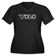 YOLO White Women's Plus Size V-Neck Dark T-Shirt