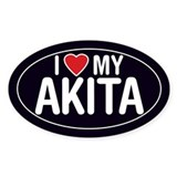 I Love My Akita Oval Sticker/Decal