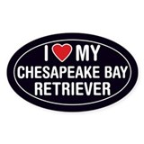ILove My Chesapeak Bay Retriever Oval StickerDecal
