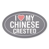 I Love My Chinese Crested Oval Sticker/Decal