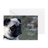 Happy Birthday Mom Pug Greeting Cards (Pk of 20)