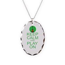 Keep Calm Play On (Guitar) Necklace Oval Charm