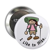 "I Like To Hike Girl (Green) 2.25"" Button"