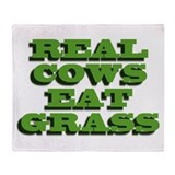Real Cows Eat Grass Throw Blanket