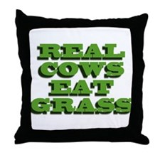 Real Cows Eat Grass Throw Pillow
