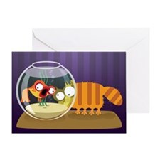 Loony Cat and Fish Art Greeting Card