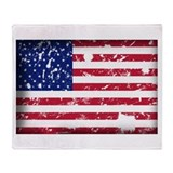 American Flag Grunge Throw Blanket