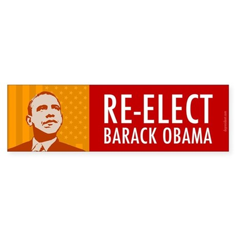 Orange Re-elect Obama Sticker (Bumper 10 pk)