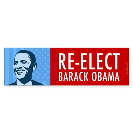 Blue Re-elect Obama Sticker (Bumper 10 pk)