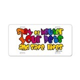 Spay Neuter Rainbow Aluminum License Plate