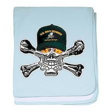 USN Seabees Skull baby blanket