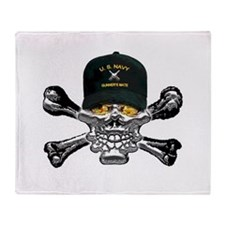 USN Gunners Mate Skull Throw Blanket