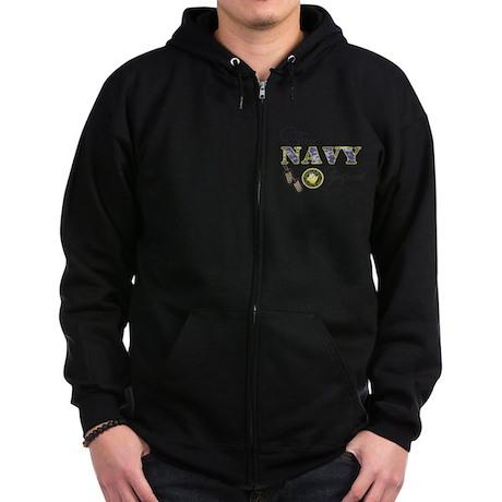 Proud Navy Girlfriend Zip Hoodie (dark)