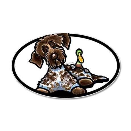 Funny Pointing Griffon 22x14 Oval Wall Peel