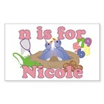 N is for Nicole Sticker (Rectangle 10 pk)