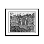 Double Falls Framed Panel Print