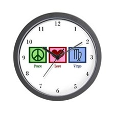 Peace Love Virgo Wall Clock