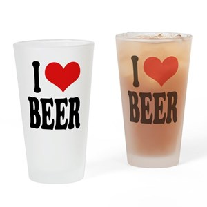 I Love Beer (word) Pint Glass