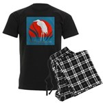White whooping Crane Men's Dark Pajamas