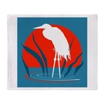 White whooping Crane Throw Blanket